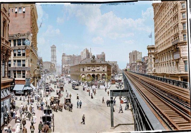 New York'un renklendirilmiş bir fotoğrafı, 1908.