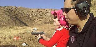 Sen Nasıl Babasın! 4 Yaşındaki Kızına Silah Kullandırtan Adam