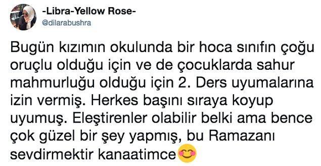 1. -Libra-Yellow-Rose- isimli Twitter kullanıcısı oruç tutan kızının okula gittiğini yazdı.