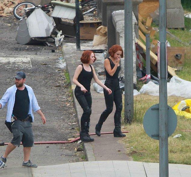 7. Scarlett Johansson (Black Widow) ve dublörü Heidi Moneymaker: