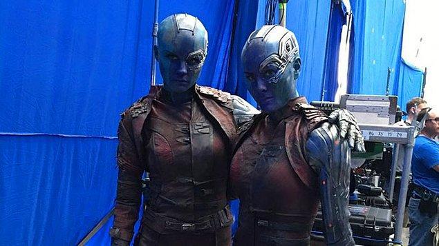 13. Karen Gillan (Nebula) ve dublörü Kelly Richardson:
