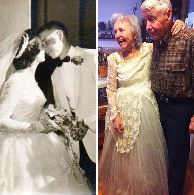"""10. """"Büyük annem evlendikten 63 yıl sonra bile formunu koruyor. Gelinliğini yeniden giydiğinde bunu resmen kanıtladı."""""""