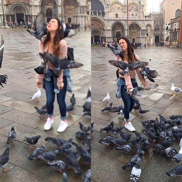 10. Güvercinleri besleme zamanı...
