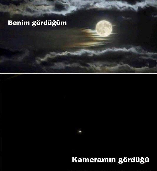3. Ay'ın fotoğrafını çekmeye çalıştığında;