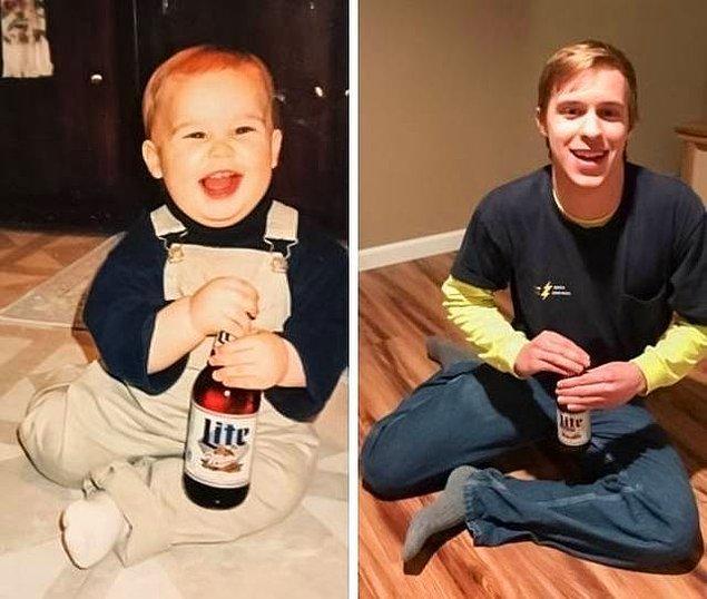 """3. """"Babam 1. yaş günümde bira tutarken fotoğrafımı çekti. Sonra aynı birayı 21. yaş günüm için bir zaman kapsülüne sakladı. O zaman kapsülünü bugün açtım."""""""