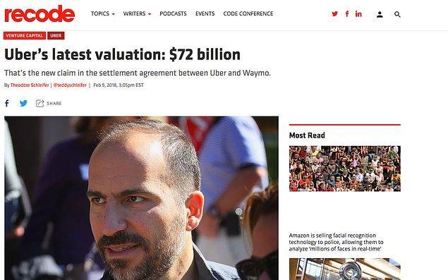 Bugün İstanbul'da bazı taksicilerin akıl almaz yollarla protesto ettikleri Uber'in dünyadaki toplam değeri Şubat 2018'deki hesaplamalara göre 72 milyar dolar! Hadi ufak bir hesaplama yapalım.