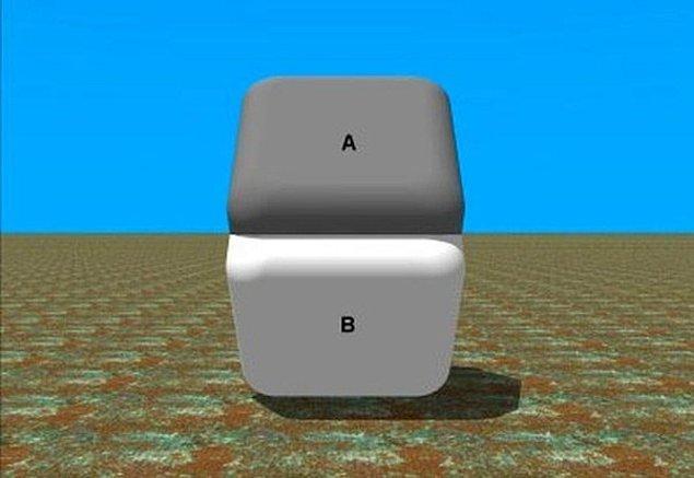 2. Benzer bir illüzyon daha. A ve B karoları yeniden aynı renkte. inanmıyorsanız birleşim noktasına parmağınızı koyup yeniden bakın.