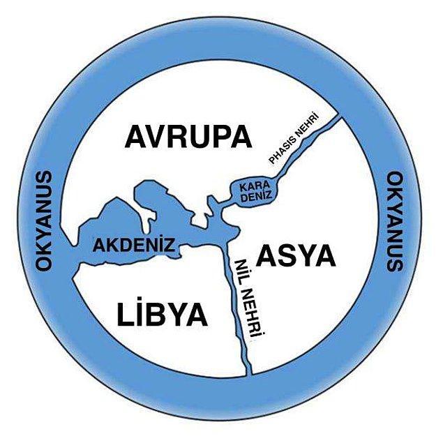 Anaksimandros'un ortaya çıkardığı ve tarihte bir ilk olan haritaya göre Dünya aşağı yukarı böyle bir yerdi: