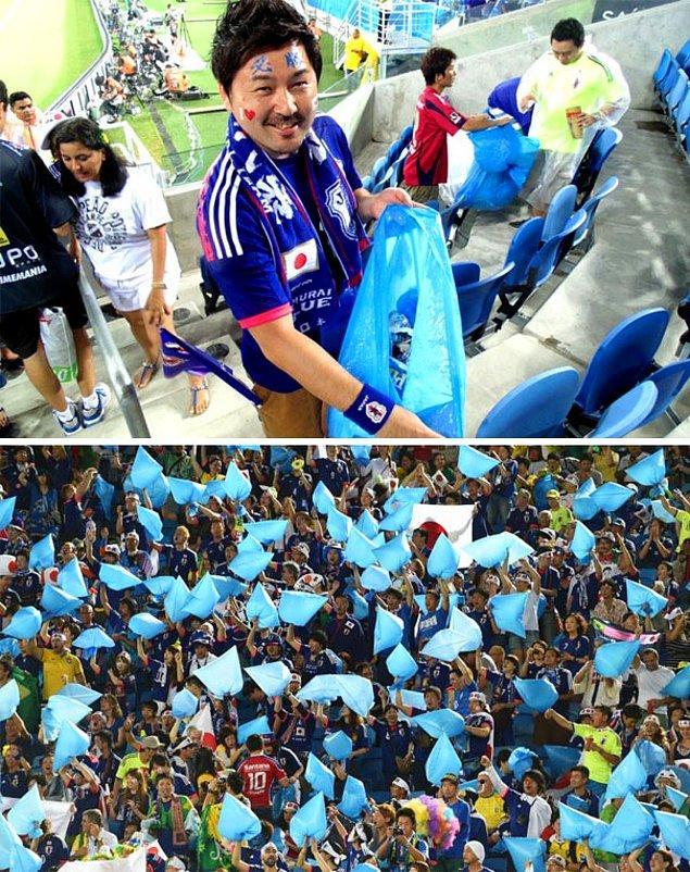 5. 2014'deki FIFA Dünya Kupası bittikten sonra, Japon taraftarlar sahayı terk etmemiş ve temizlik konusunda yardımcı olmuşlar.