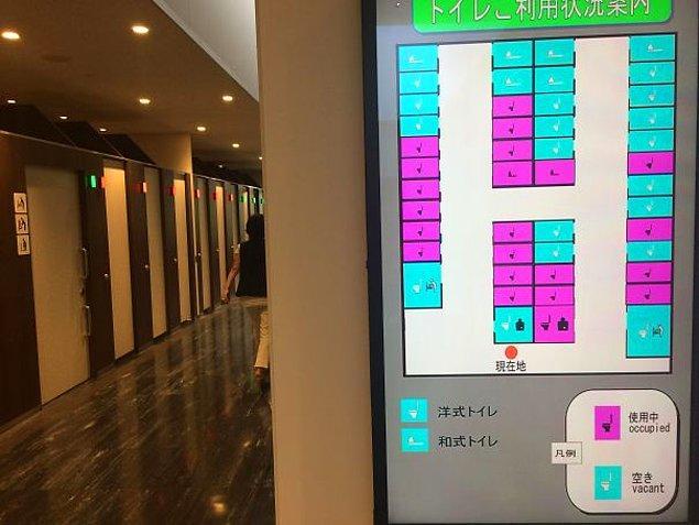 14. Japonya'daki bu sistem sayesinde hangi tuvaletin boş, hangisinin dolu olduğunu görebiliyorsunuz.