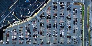 İzlemesi Aşırı Keyifli Şeylerde Bugün: Araçların Drone ile Kaydedilen Otoparka Giriş ve Çıkış Görüntüleri