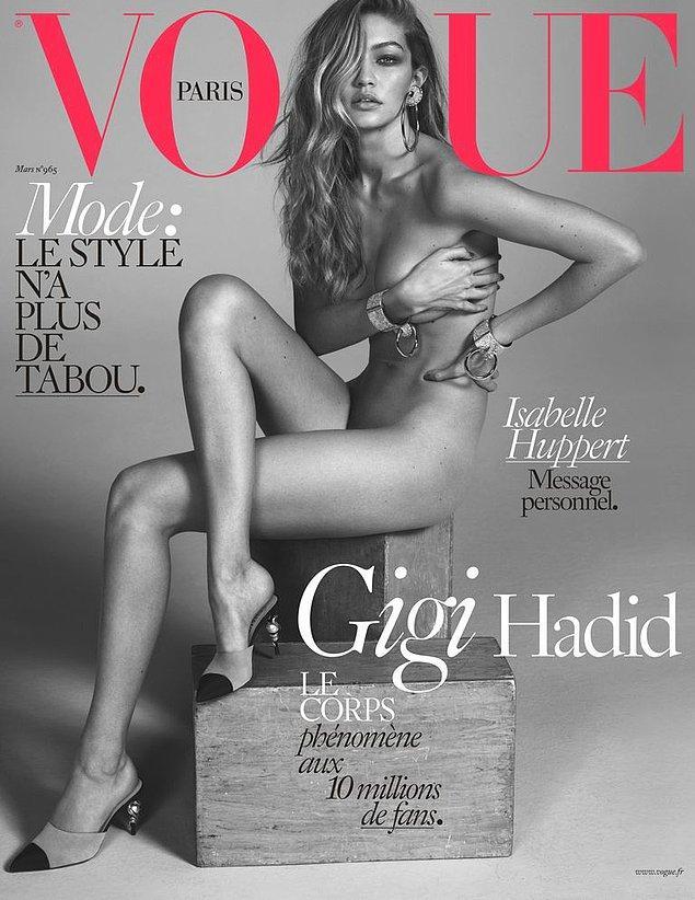 11. Gigi Hadid kardeşi kadar cesur değil, ancak o da çıplak poz verdiği dergi kapağını paylaşmıştı.