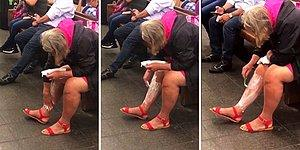 Metro İstasyonunda Kimseye Aldırış Etmeden Bacaklarını Tıraş Eden Sülalesi Rahat Kadın