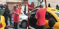Trafiğe Soktu Diye Turistin Bavulunu Fırlatıp Bağıran Taksici