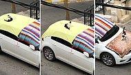 Dolu Öncesi Arabaları Örtüyle Sarma İşine Çok Sevinen Kedi