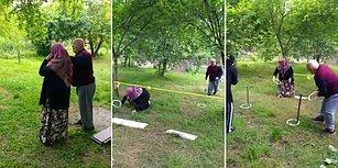Çocuklarının Bahçeye Kurdukları Survivor Parkurunda Yarışan 72 Yaşındaki Dede ile Eşi