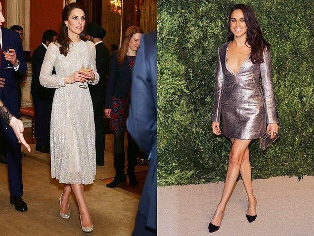 2015 yılında metalik ve ışıltılı elbiselerle ikisi de göz kamaştırdılar. Meghan'ın tercihleri Kate'e göre biraz daha cesur gördüğünüz gibi...