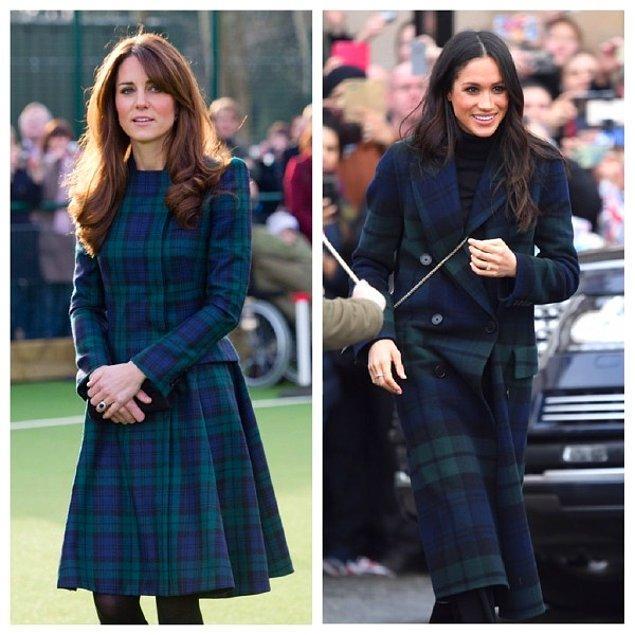 Meghan Marle, ilk resmi ziyaretini İskoçya'ya yaptığında lacivert-yeşil kareli kıyafeti tercih etti. Düşes Middleton aynı deseni 2012'de bir okul ziyaretinde giymişti.