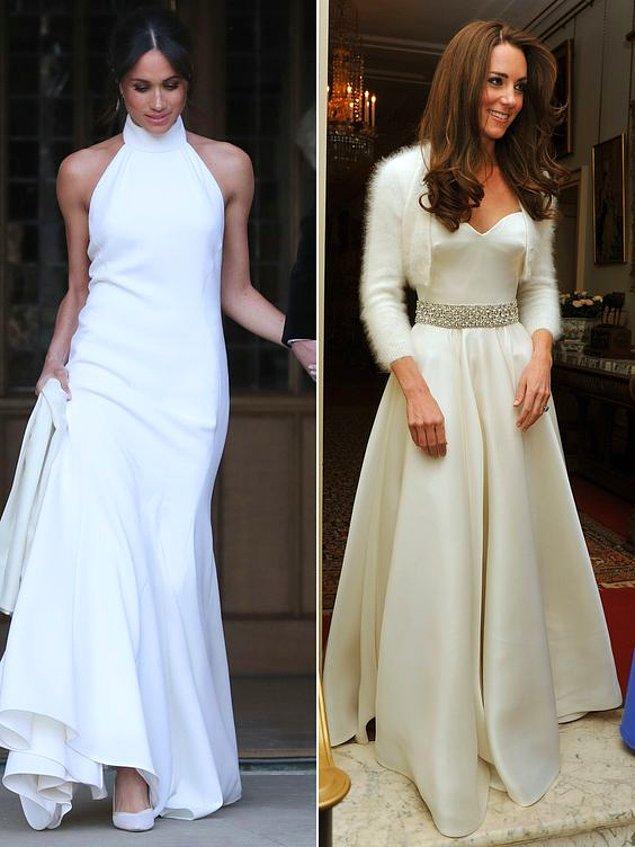 Düğün sonrası resepsiyonunda Kate ve Meghan'ın tercihleri ise bu şekilde olmuştu. Gelinlik tercihi ile eleştirilere maruz kalsa da düğün sonrası giydiği bu sade elbise ile her şeyi unutturdu yeni gelin Markle.