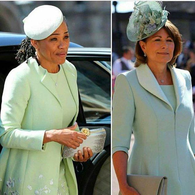 Kate Middleton'ın annesi Carole Middleton ve Meghan Markle'ın annesi Doria Rogland, Meghan ve Prens Harry'nin düğününde benzer tercihlerde bulundular.