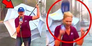 Haber Sunacağım Derken Bir Elinde Mikrofon Diğerinde Şemsiye ile Perişan Olan Kadın Muhabir