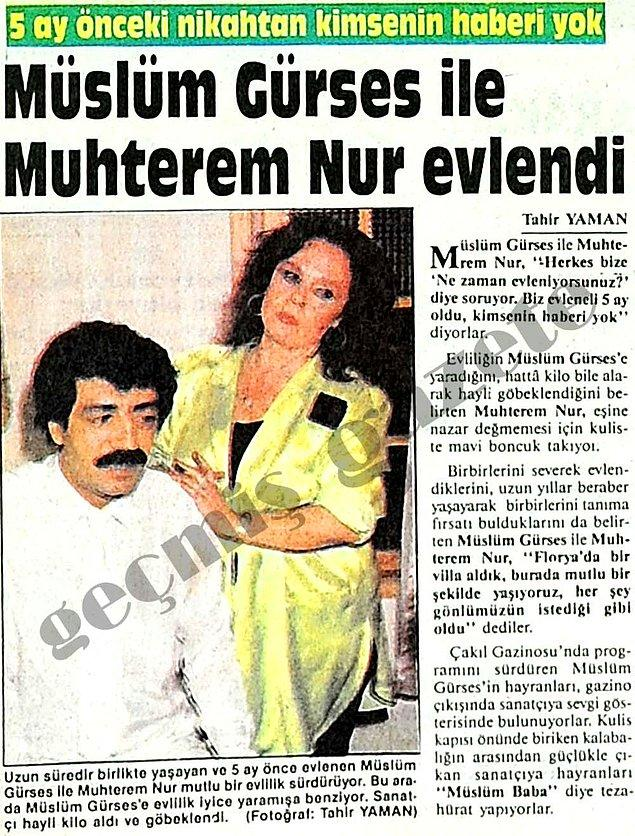 1986 (Bulvar): Müslüm Gürses ve Muhterem Nur'un sakince dünyaevine girmesi