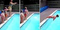 Annesi ve Kardeşinin Ardından Havuza Efsane Bir Atlayış Gerçekleştiren Ufaklık