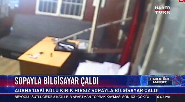 Adanada kolu kırık hırsız, dizüstü bilgisayarı sopayla çaldı