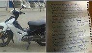 Önce Motosikleti Çaldı Sonra Bir Notla Geri Getirdi: 'Vicdan Azabı Çekiyorum, Zararı Ödeyeceğim'