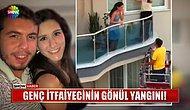 İtfaiye Aracını Alıp Sevdiği Kızın Evine Giden İtfaiyeciden Merdivende Evlilik Teklifi