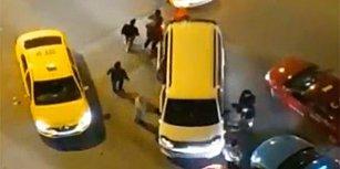 Gecenin Bir Vakti UBER Aracı Olduğunu İddia Ettikleri Aracın Önünü Kesen Taksiciler