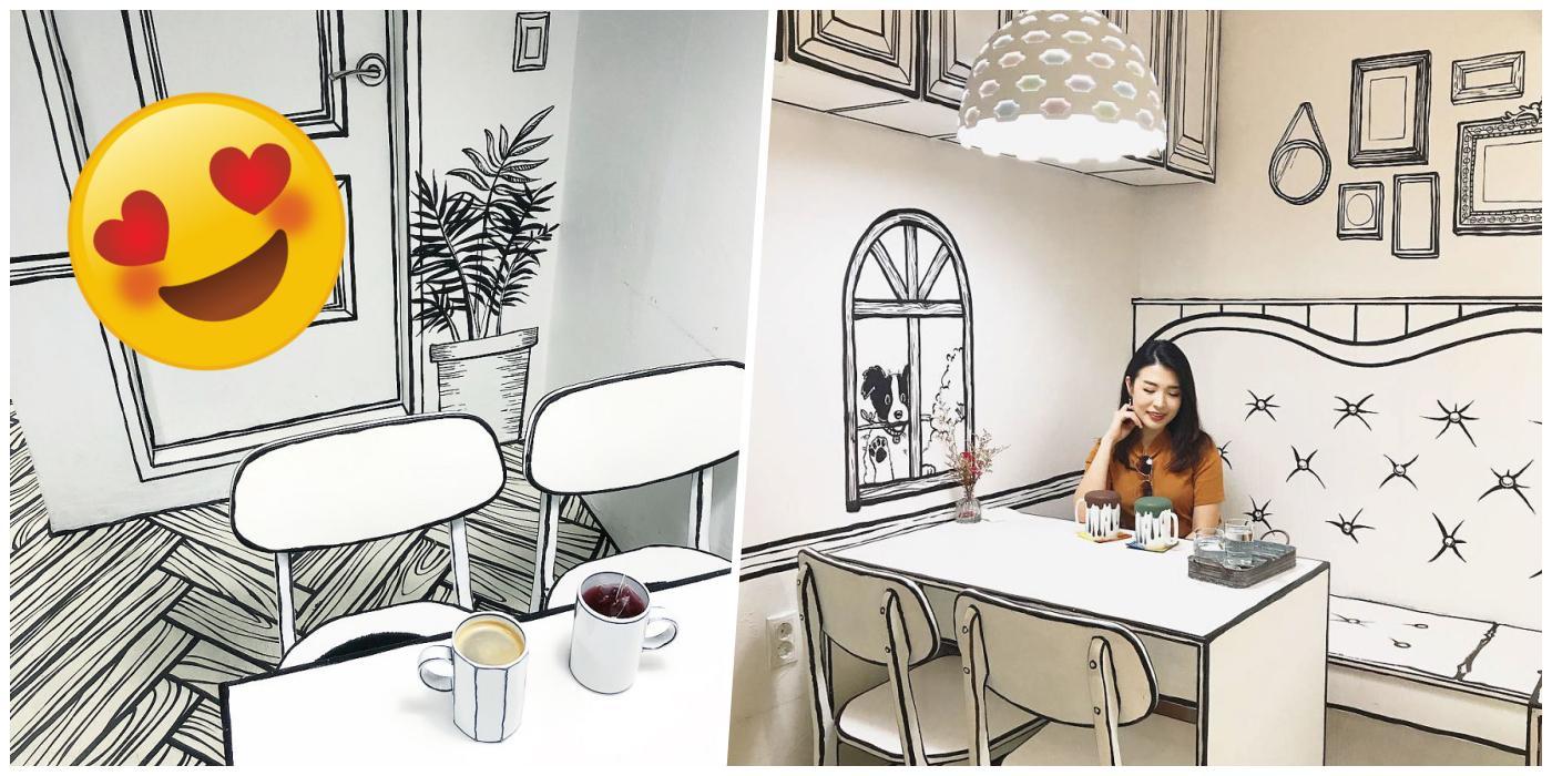 Instagramlık Kafelerin Şahı! Karikatür Görünümlü Dizaynı İle İnsanı Başka Boyutlara Taşıyan Güney Kore'deki İlginç Kafe