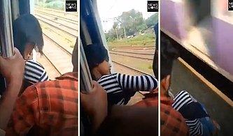 Selfie Merakı Yüzünden Ölümle Burun Buruna Gelen Kadının Trenin Altında Kalmaktan Son Saniyede Kurtulduğu Anlar