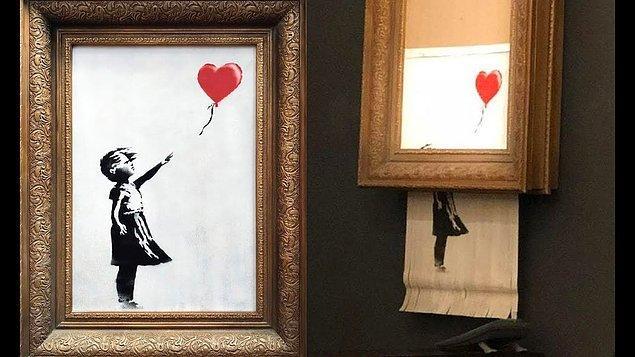 2006 yılında Banksy tarafından kanvas üzerine yapılmış bu özel tablo, Londra'daki Sotheby's Müzayede Evi tarafından açık artırmaya çıkartıldı. Yaklaşık 1.4 milyon dolara alıcı bulduğu anda ise kendini parçalamaya başladı!