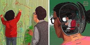 Çocuğuyla Yalnız Yaşayan Bir Babanın Günlük Hayatında Yaşadıklarını Anlattığı Kalp Isıtan Çizimleri