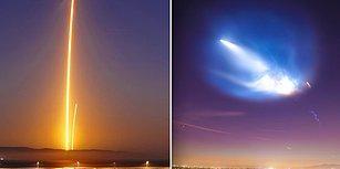 SpaceX Roketinin Fırlatılması Sonrası Los Angeles Gökyüzünde Meydana Gelen Işık Oyunları