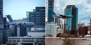 Avustralya'da Alçak Uçuş Yaparak Gökdelenlerin Arasına Dalan Uçak