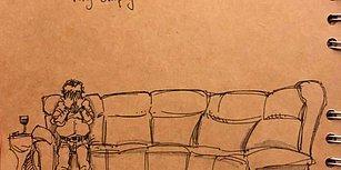 Eşini Kaybettikten Sonra Yaşadığı Hayatı İllüstrasyonlara Çizen Sanatçıdan Gözlerden Yaş Getirecek Çalışma