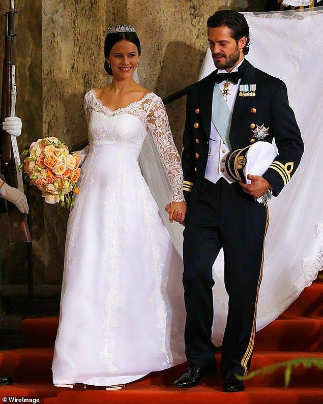 6. İsveç: Prenses Sofia, 2015'te İsveç Prensi Carl Philip ile evlenirken dantelli ve İsveçli tasarımcı Ida Sjöstedt tarafından hazırlanmış el dikimi eteği ile özel tasarım bir gelinlik taşıdı.