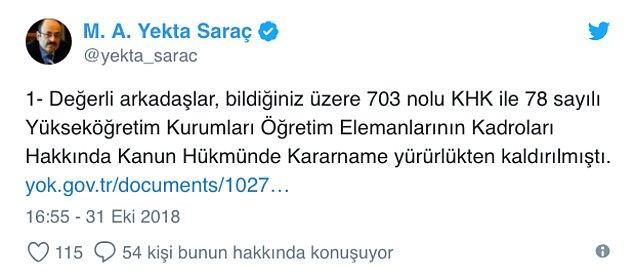 YÖK Başkanı Prof. Dr. Yekta Saraç resmi Twitter hesabından detaylara şöyle açıklık getirdi👇