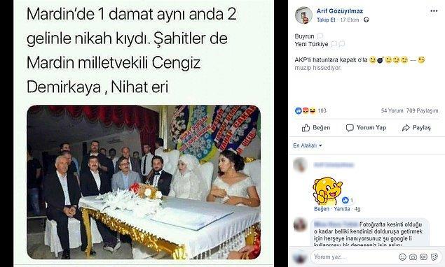 """3. """"Fotoğrafın Mardin'de bir adamın iki gelinle nikah kıydığını gösterdiği iddiası."""""""
