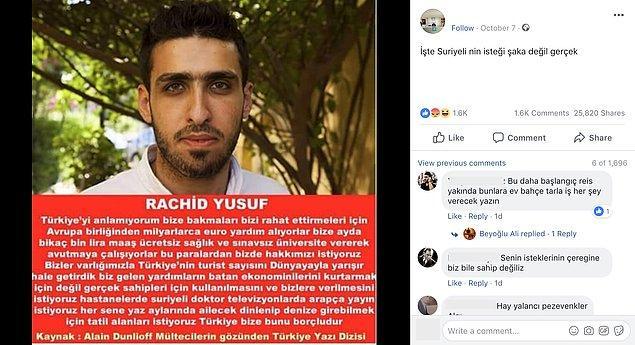 """4. """"Rachid Yusuf isimli Suriyeli mültecinin Türkiye hakkında söylediği sözlere ilişkin iddialar."""""""