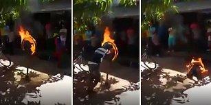 Ateş Çemberinin İçinden Geçerek Artistlik Yapmak İsteyen Adamın Hazin Sonu