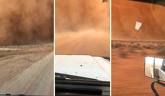 Aracıyla Kum Fırtınasının İçine Dalan Adamın Kaydettiği Efsane Görüntüler