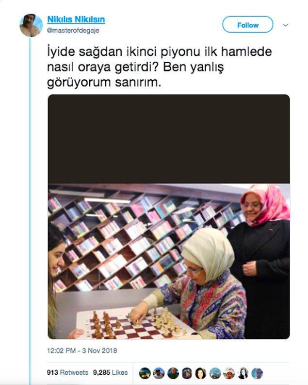 """4. """"Fotoğrafın Emine Erdoğan'ın satrançta yanlış hamle yaptığını gösterdiği iddiası."""""""