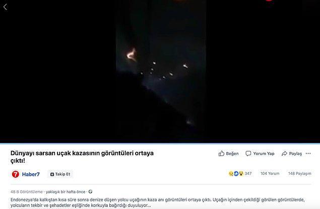 """5. """"Videonun Endonezya'da düşen uçağın içerisinden kaydedilen son anları gösterdiği iddiası."""""""