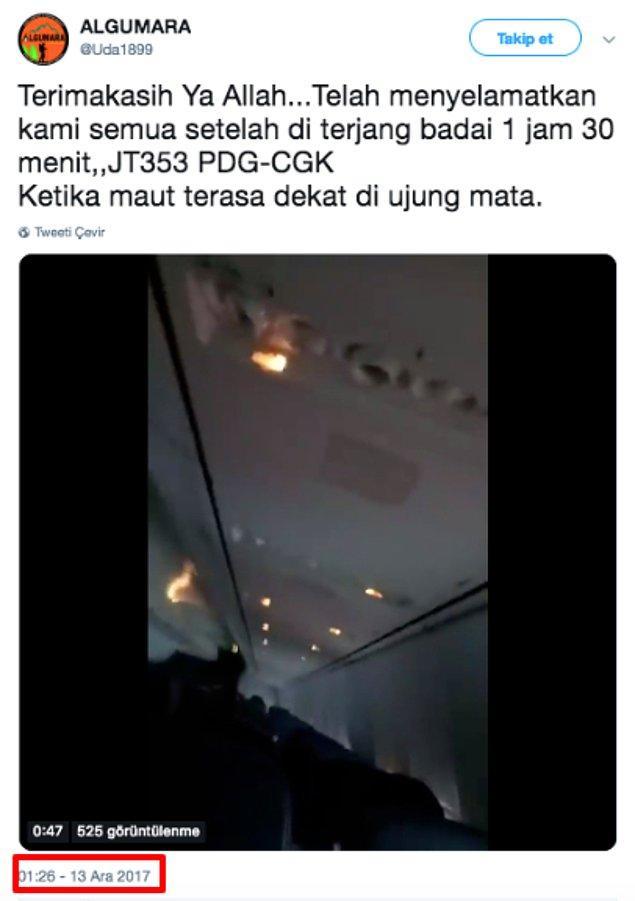 Ancak videonun, Endonezya'nın başkenti Cakarta'dan havalanan Lion Havayolları'na ait JT610 sefer sayılı yolcu uçağının düşmesinden önce, içerisindeki yolcular tarafından çekilen görüntüleri gösterdiği iddiası doğru değil.