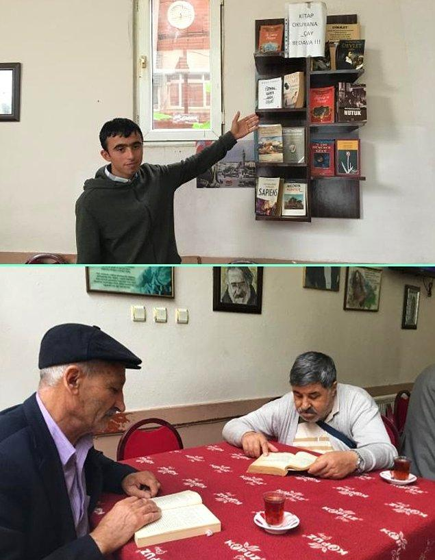 1. Bursa'nın Kestel ilçesindeki bir kahvehanede, en az 1 saat kitap okuyan müşteriler, içtikleri çay ve kahveye para ödemiyor.