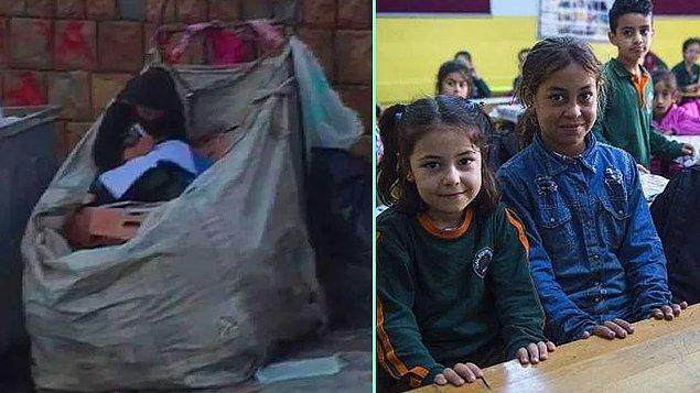 7. 11 yaşındaki Suriyeli Halime, Arnavutköy'de atık kağıt toplama arabasının içinde elinde boyama kitabı ve kalemle görüntülenerek içimizi acıtmıştı.