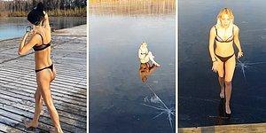 Gölün Buz Tutmuş Yüzeyine Atlayarak Kırmak İsteyen Kadının Dumura Uğradığı Anlar
